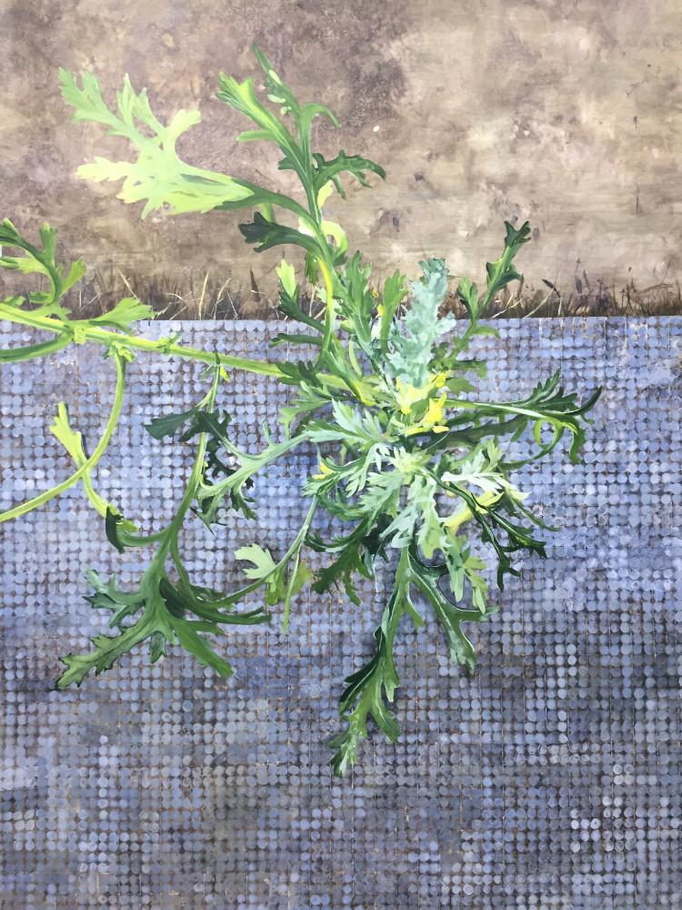 Detail of a painting. Green leaves of a groundsel plant. The lower part of the image has a blue-grey dotted grid. The upper third is mottled brown